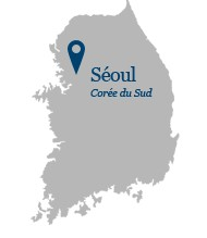 South Korea map pointing toward Seoul