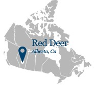 Carte du canada pointant Red Deer